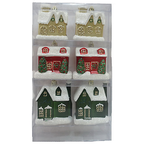 Hand-Painted House Ornaments (6-Count)