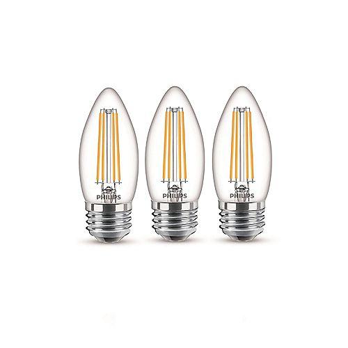 40W Equivalent Daylight Glass (5000K) Chandelier Medium Base LED Light Bulb (3-Pack)