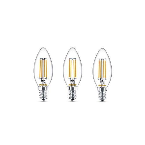 60W Equivalent Soft White Glass (2700K) Chandelier Candelabra LED Light Bulb (3-Pack)