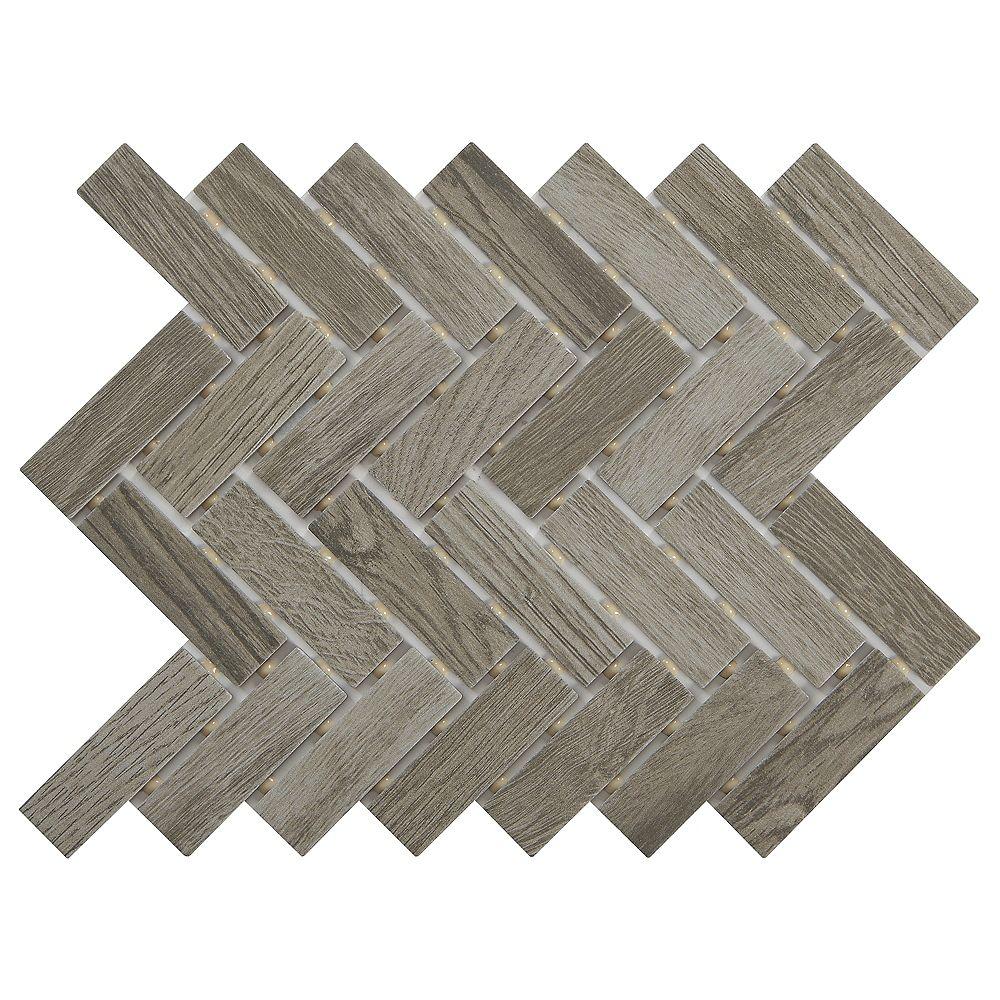 Lifeproof Shadow Wood 9-inch 12-inch x 6 mm Ceramic Herringbone Mosaic Tile (0.60 sq. ft. / piece)