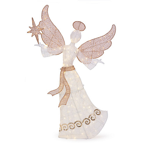 60-inch Warm White LED-Lit Angel with Stars Christmas Decoration