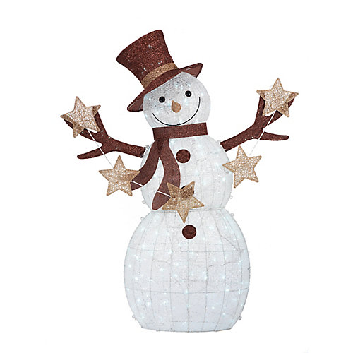 72-inch Warm White LED-Lit Snowman with Stars Christmas Decoration