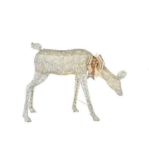54-inch 280-Light Warm White LED-Lit Giant Silver Doe Christmas Decoration