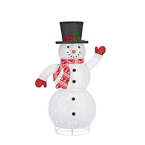 Décoration de Noël, bonhomme de neige repliable illuminé à DEL, blanc froid, 60po
