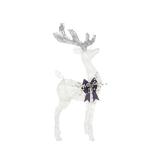 42-inch LED-Lit White Deer Indigo Christmas Decoration