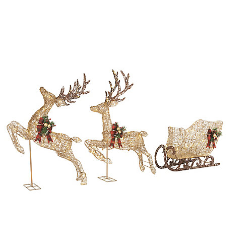 48-inch Cool White LED-Lit Pair of Deer with Sleigh Christmas Decoration