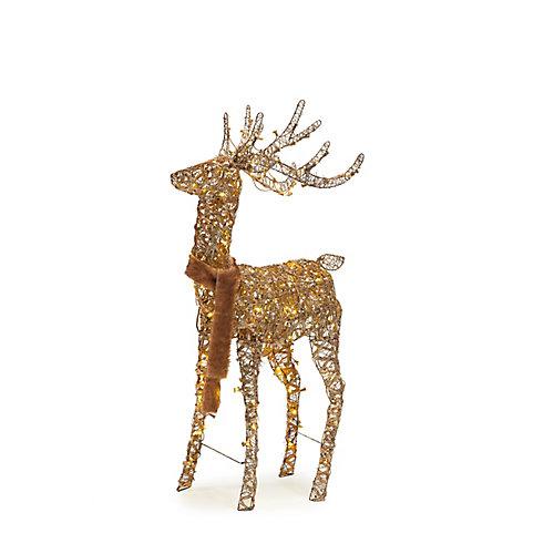 Décoration de Noël, cerf animé en bois illuminé à DEL, blanc chaud, 60po