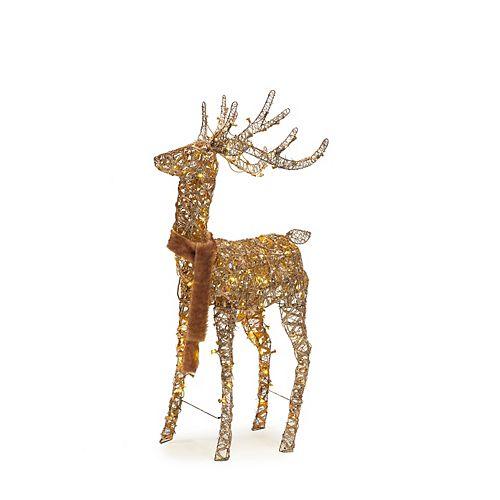 60-inch Warm White LED-Lit Animated Wood Deer Christmas Decoration
