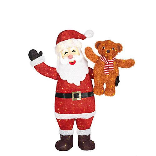 60-inch 240-Light Warm White LED-Lit Santa with Bear Christmas Decoration