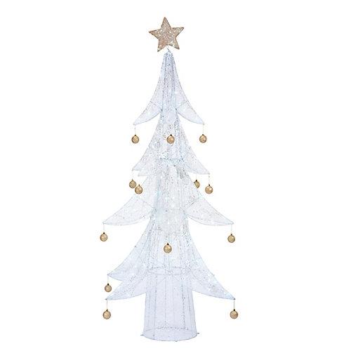 Décoration de Noël, arbre blanc avec ornements dorés illuminé à DEL, blanc chaud, 80po