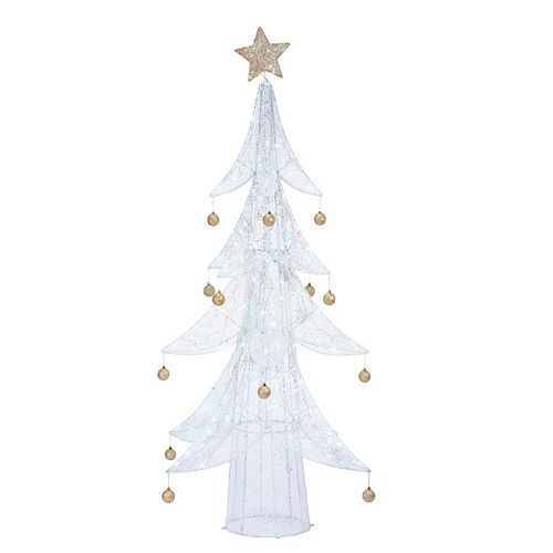 80-inch Warm White LED-Lit White Tree with Gold Ornaments Christmas Decoration