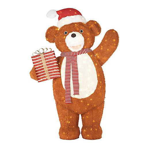 Ourson géant avec cadeau décoratif de Noël illuminé à DEL