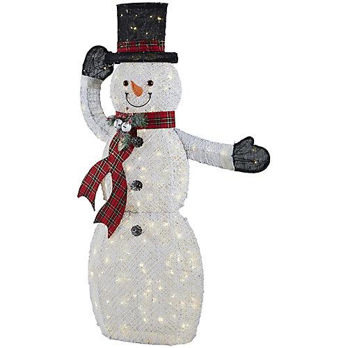 Décoration de Noël, bonhomme de neige illuminé à DEL avec chapeau animé, blanc froid, 60 po