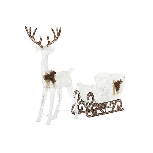Décoration de Noël, cerf avec traîneau illuminé à DEL, blanc froid