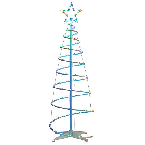 5.5 ft. Color Blast Remote Controlled RGB LED 96-Light Spiral Tree - 5 Points Star