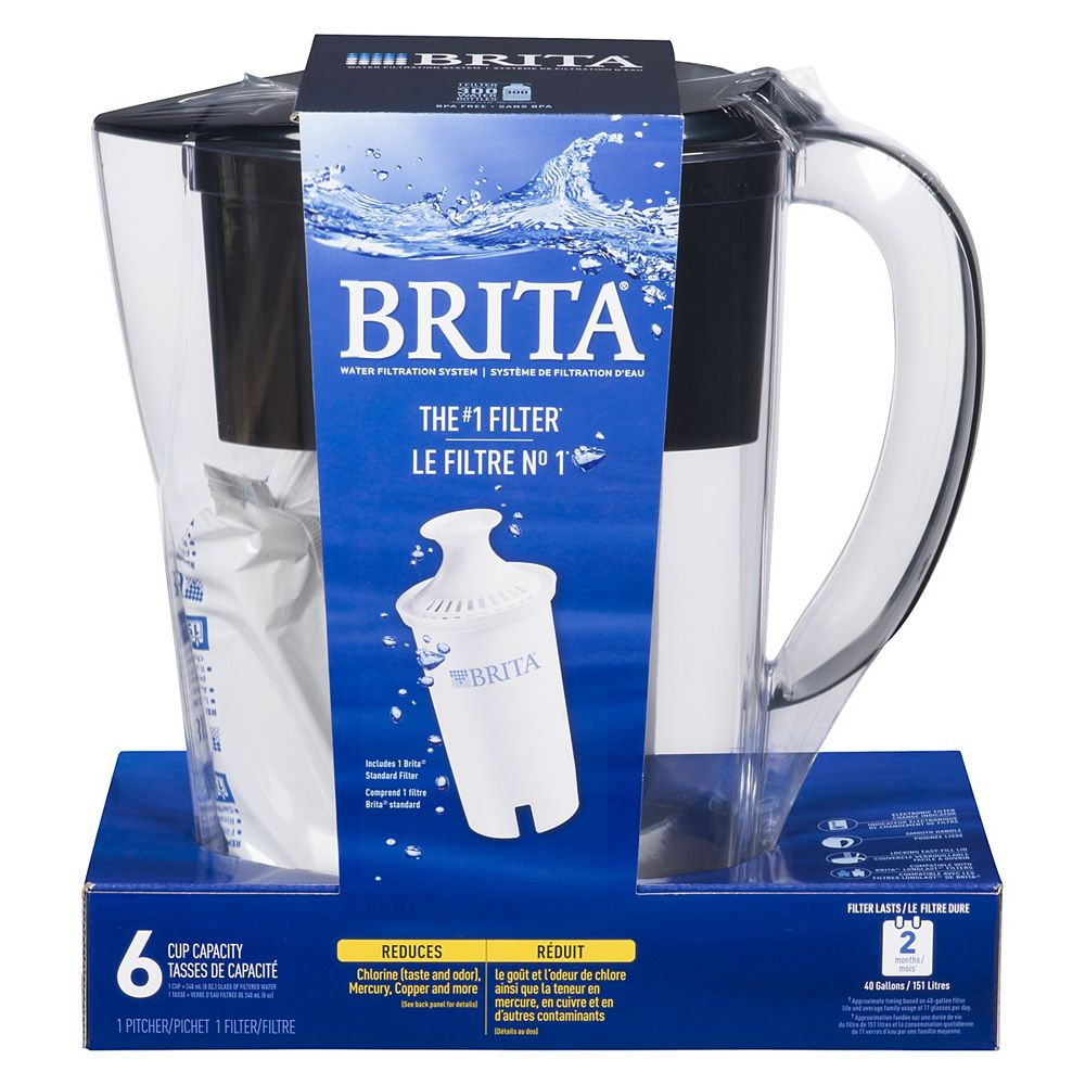 Brita Space Saver 6 Cup Water Filter Pitcher with 1 Replacement Filter in Black