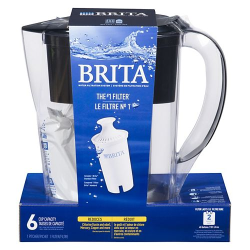 Space Saver Water Filter Pitcher with 1 Replacement Filter, Black, 6 Cup