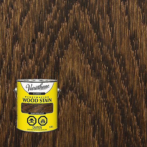 Teinture à bois classique pénétrante à base d'huile dans du noyer foncé, 3,78 L