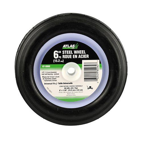 Atlas Roue de rechange en acier, avec roulements à billes centrés pour tondeuses, 6 po (15,2cm)