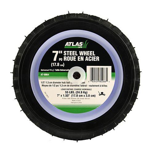 Atlas Roue de rechange en acier, avec roulements à billes décentrés pour tondeuses, 7 po (18cm)