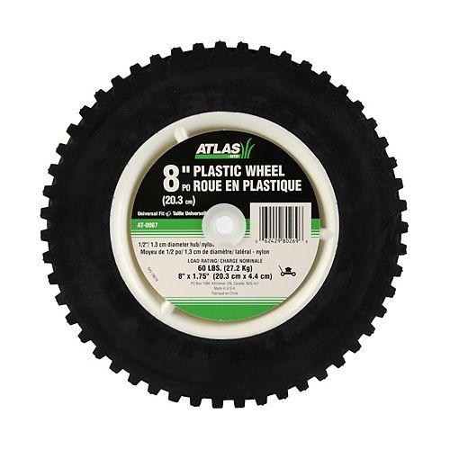 Atlas Roue de 8 po (20,3 cm) X 1,75 po (4,4 cm) en plastique avec bande à engrenages