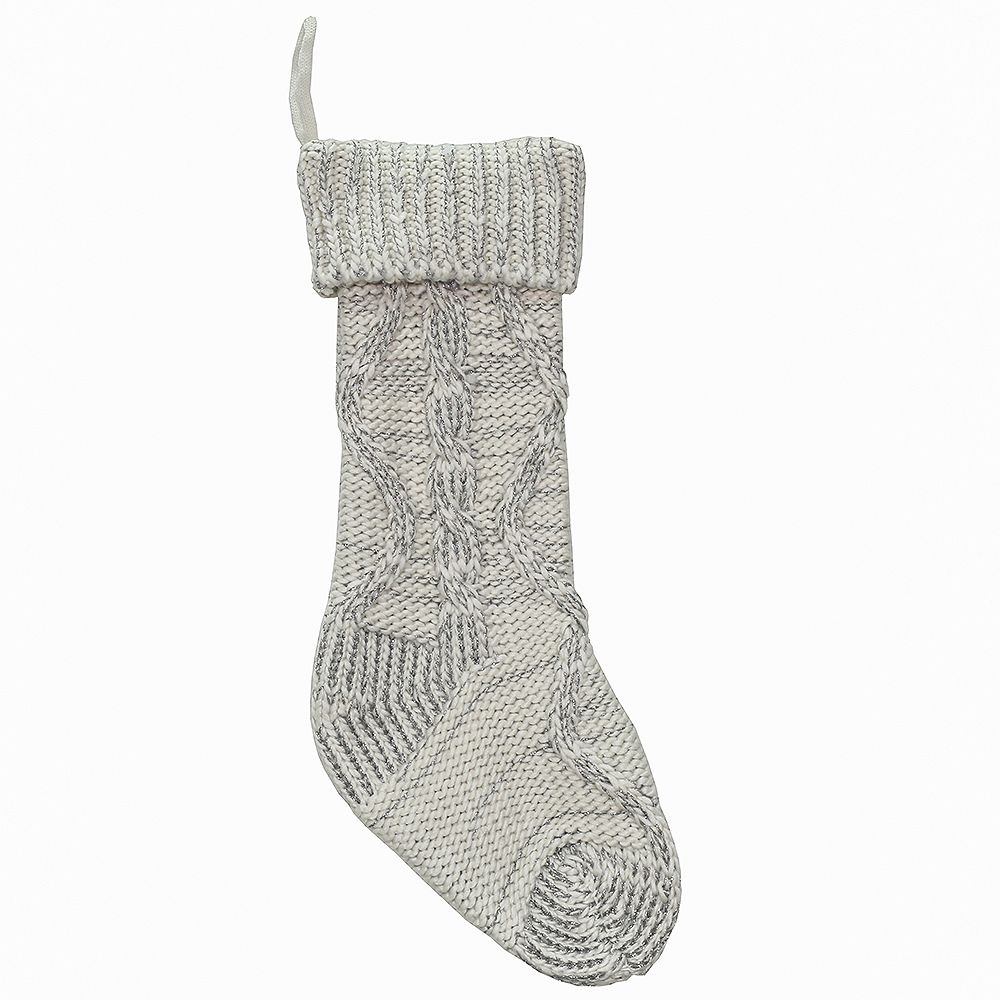 Home Accents 20 inch Chunky Cable Knit Stocking - Ivory