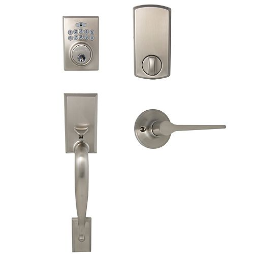Defiant Alexander Satin Nickel Square Electronic Door Lock with Freedom Interior Lever