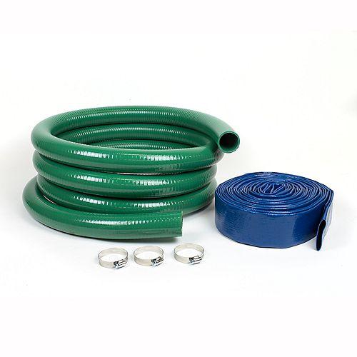 """Kit de tuyau 2"""" robuste avec tuyaux d'aspiration et de refoulement"""