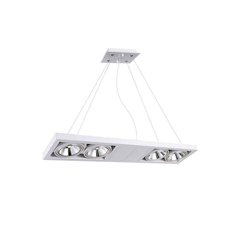 CWI Lighting Wrest 32 inch 4 Light Chandelier with White Finish