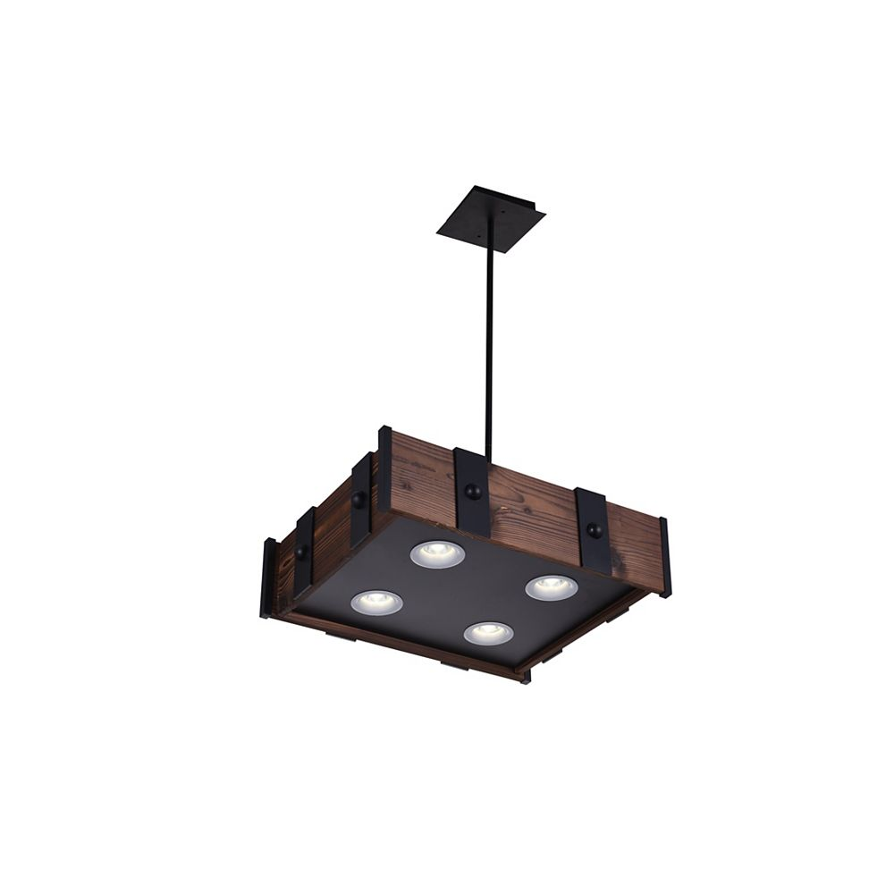 CWI Lighting Pago 22 inch 4 Light Chandelier with Black Finish