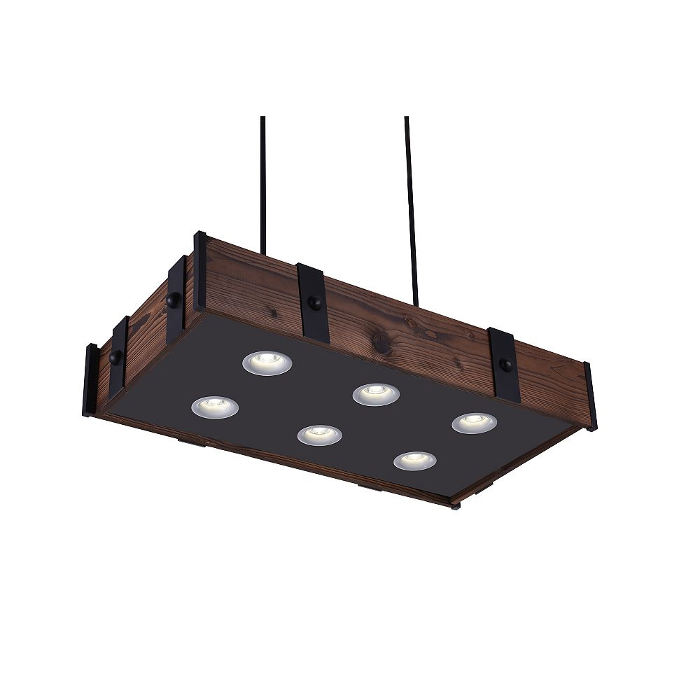 CWI Lighting Pago 35 inch 6 Light Chandelier with Black Finish