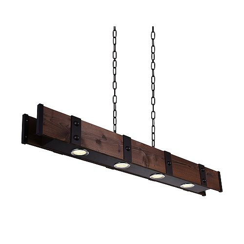CWI Lighting Pago 59-inch 4-Light Chandelier with Black Finish