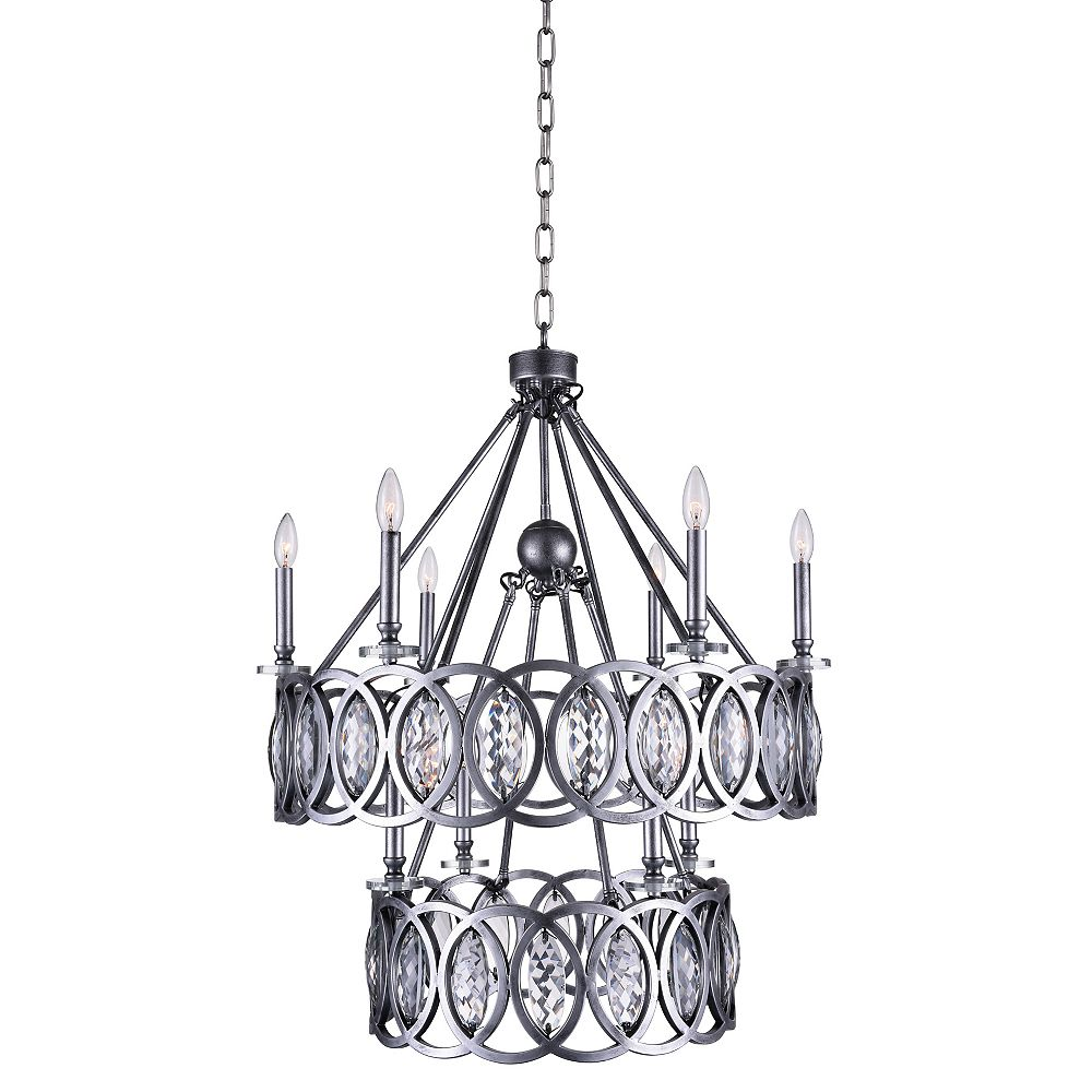 CWI Lighting Attis 29 inch 10 Light Chandelier with Gun Metal Finish