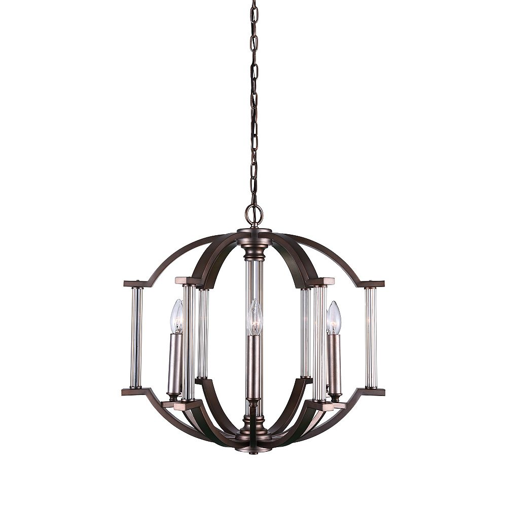CWI Lighting Marlia 22 inch 6 Light Chandelier with Brownish Silver Finish