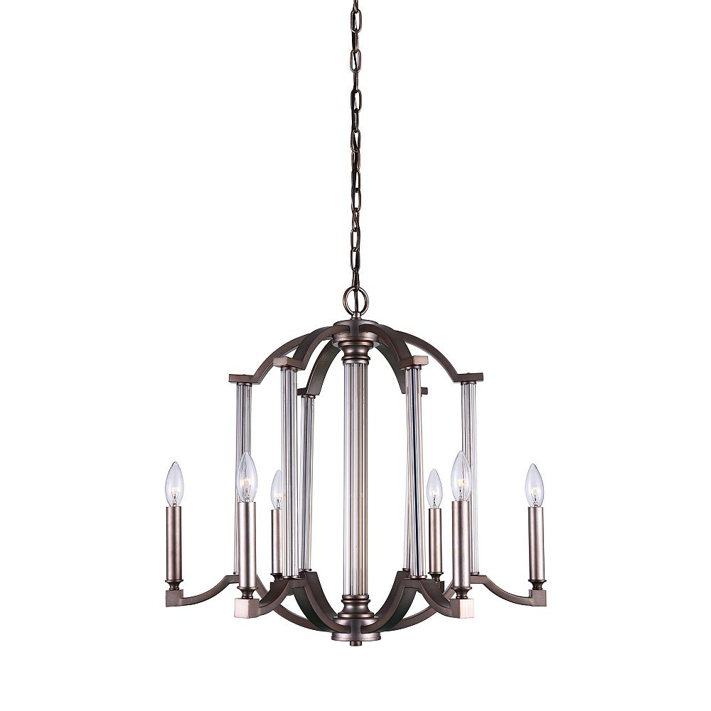 CWI Lighting Marlia 25 inch 6 Light Chandelier with Brownish Silver Finish