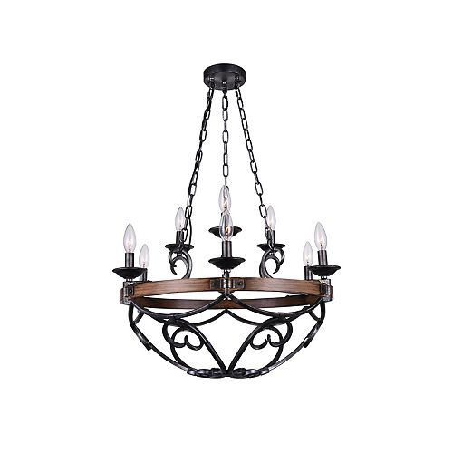 CWI Lighting Morden 25 inch 9 Light Chandelier with Gun Metal Finish