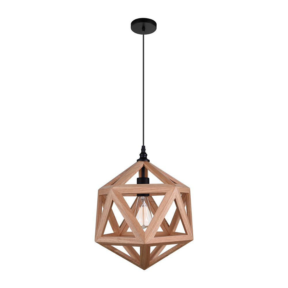CWI Lighting Lante 13 inch 1 Light Mini Pendant with Natural Wood Finish