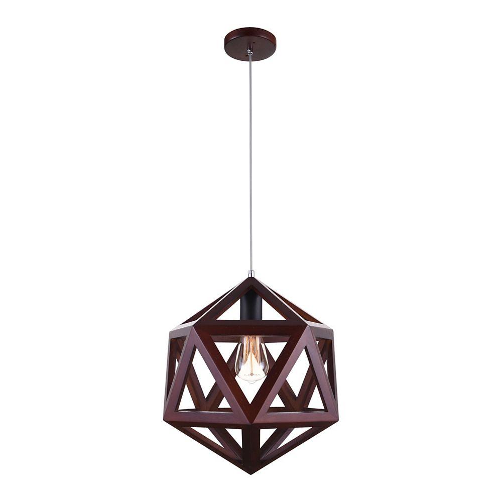 CWI Lighting Lante 13 inch 1 Light Mini Pendant with Cherry Finish