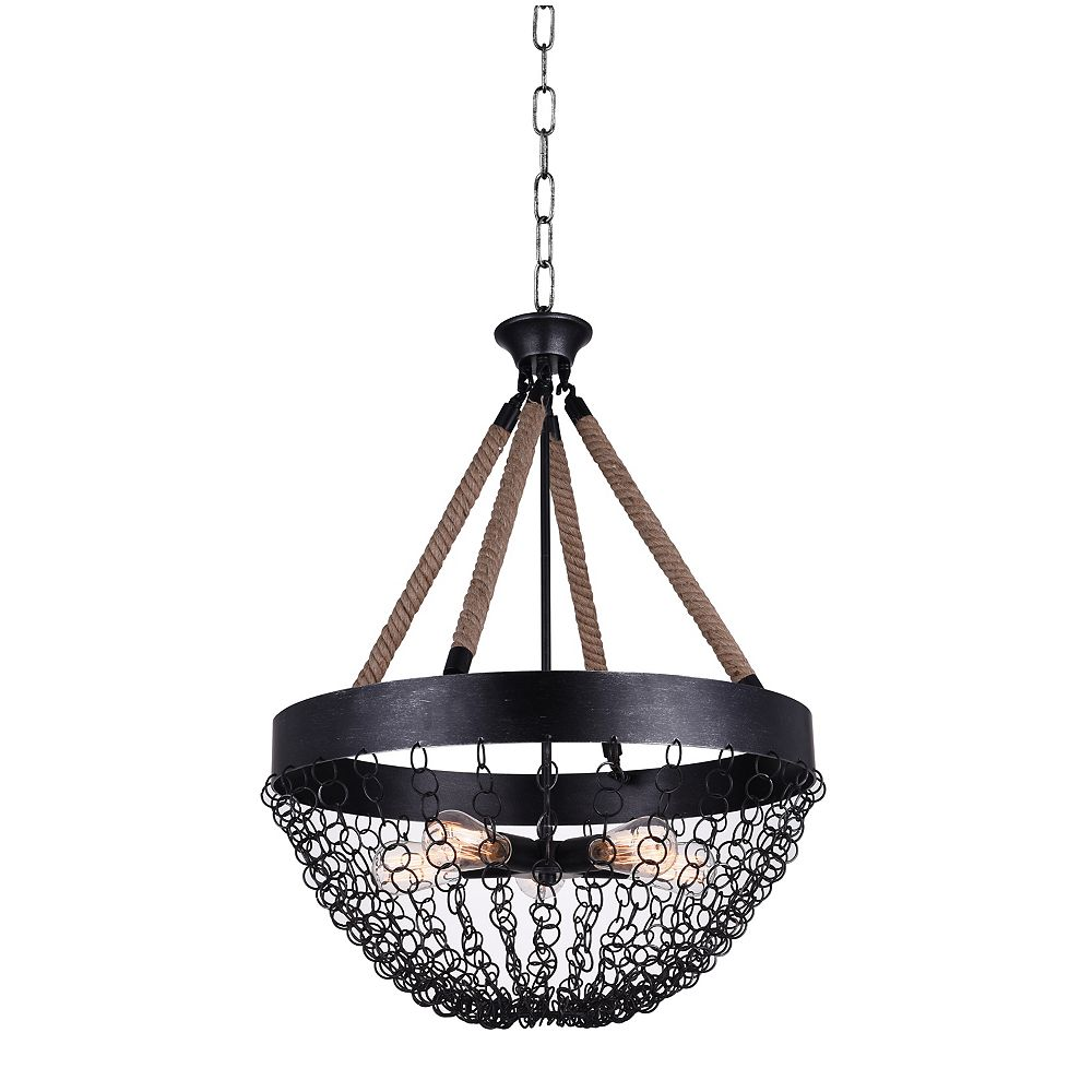 CWI Lighting Mackenzie 24 inch 5 Light Chandelier with Antique Black Finish