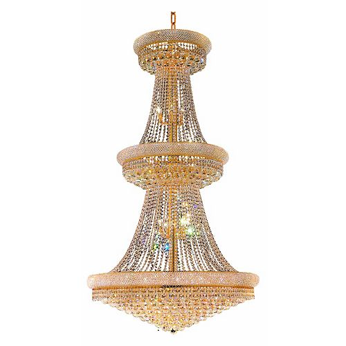 CWI Lighting Empire 36 inch 34 Light Chandelier with Gold Finish