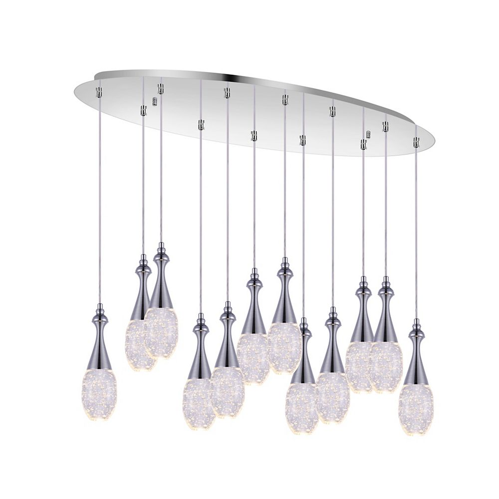 CWI Lighting Dior 34 inch 12 Light Chandelier with Chrome Finish