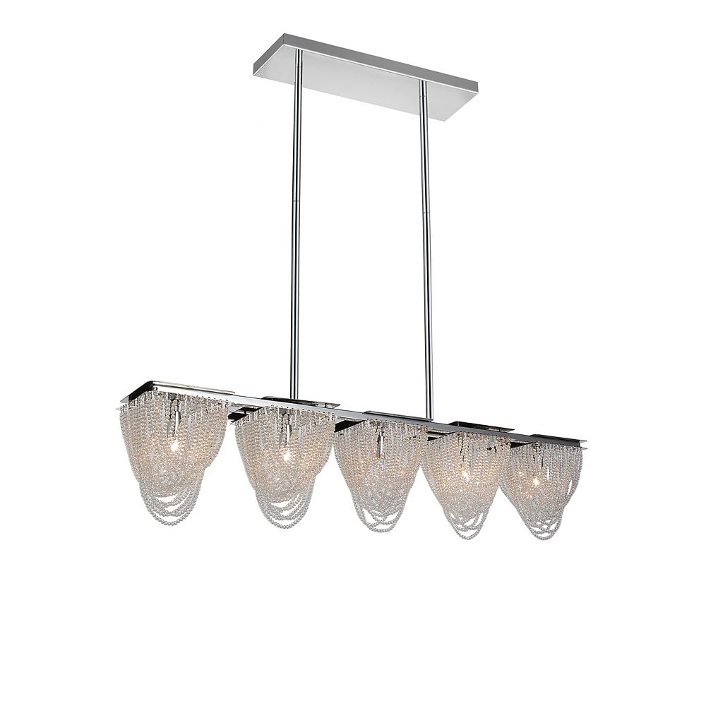 CWI Lighting Finke 35 inch 5 Light Chandelier with Chrome Finish