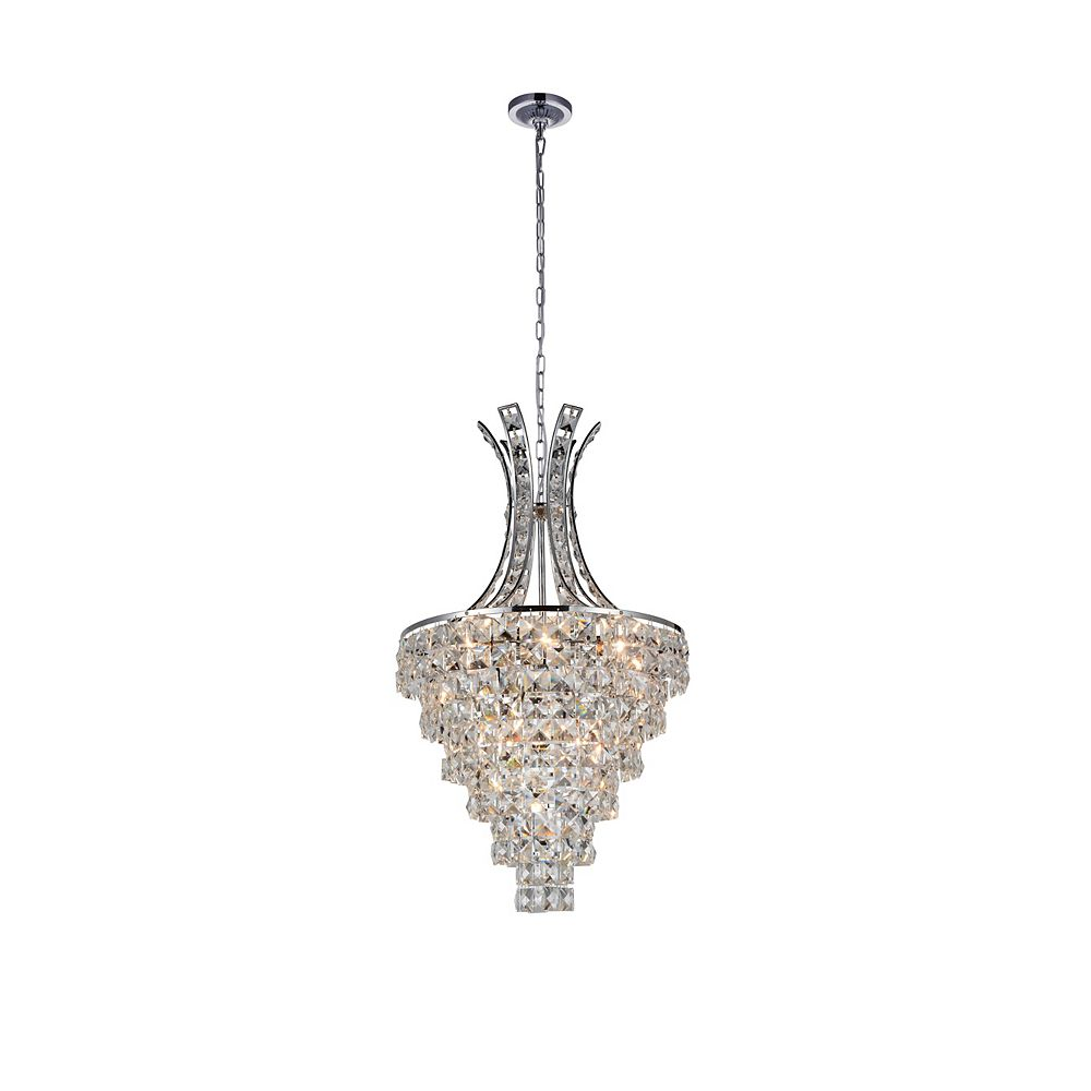 CWI Lighting Chique 16 inch 9 Light Chandelier with Chrome Finish