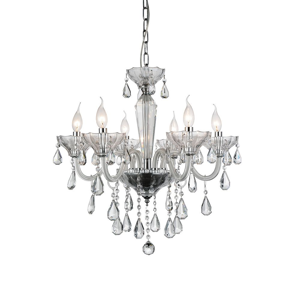 CWI Lighting Harvard 24 inch 6 Light Chandelier with Chrome Finish