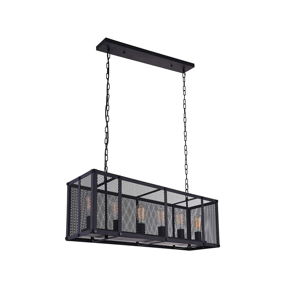CWI Lighting Heale 35 inch 6 Light Chandelier with Reddish Black Finish