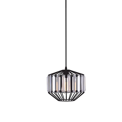 CWI Lighting Alethia 10 inch Single Light Chandelier with Black Finish
