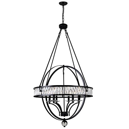 CWI Lighting Arkansas 30 inch 6 Light Chandelier with Black Finish