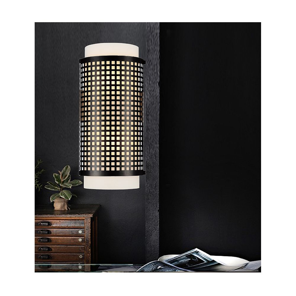 CWI Lighting Checkered 3.5 inch 2 Light Wall Sconce with Black Finish