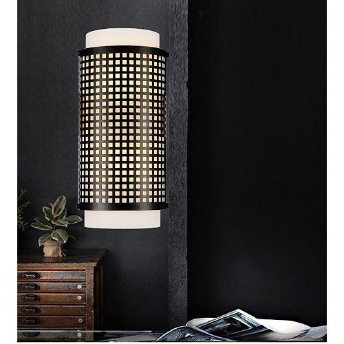 """CWI 3.5"""" Checkered 2 Lumière Applique murale avec Fini Noir"""