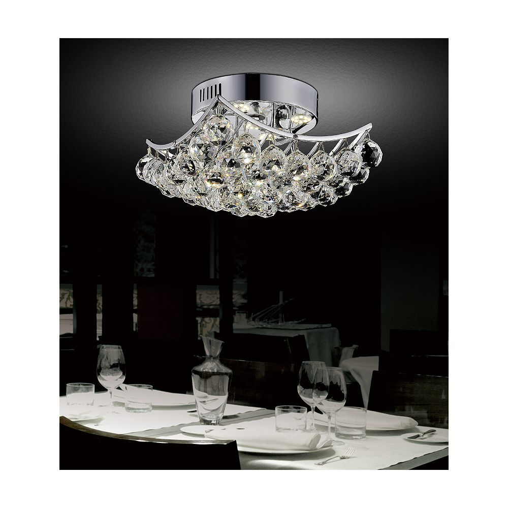 CWI Lighting Queen 17 inch 6 Light Flush Mount with Chrome Finish